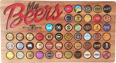 Quadro porta-tampinhas de cerveja - My Beers  Momentos DEGUSTAÇÃO. 50 Espaços!