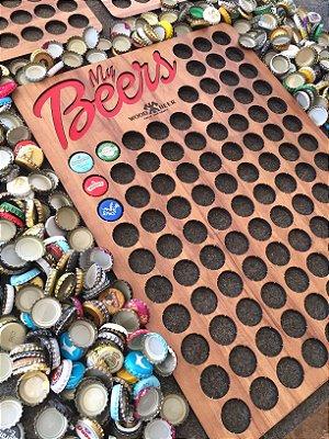 Quadro porta-tampinhas de cerveja - My Beers  Decoração DESBRAVADOR. 100 Espaços!