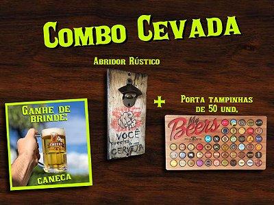 Combo Cevada - Porta tampinhas, abridor Rústico de cerveja e brindes