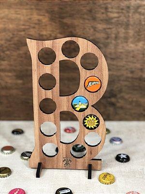 Quadro Porta-Tampinhas Alfabeto Wood - Letra B