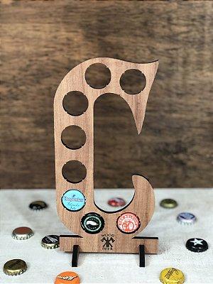 Quadro Porta-Tampinhas Alfabeto Wood - Letra C