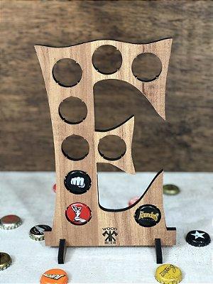 Quadro Porta-Tampinhas Alfabeto Wood - Letra E