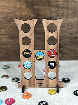 Quadro Porta-Tampinhas Alfabeto Wood - Letra H