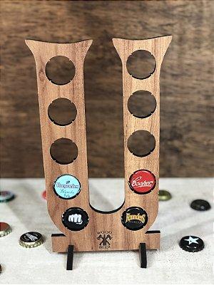 Quadro Porta-Tampinhas Alfabeto Wood - Letra U