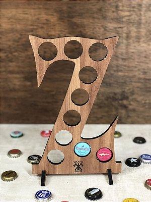 Quadro Porta-Tampinhas Alfabeto Wood - Letra Z