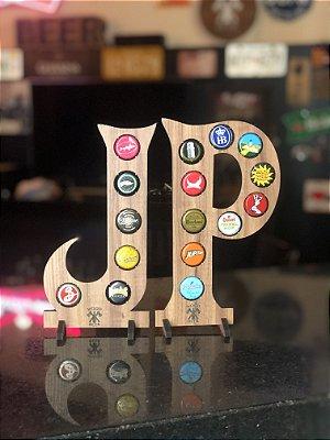 Quadro Porta-Tampinhas Alfabeto Wood - Kit 2 Letras