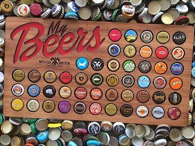 1 Quadro porta-tampinhas de cerveja - My Beers  Momentos DEGUSTAÇÃO. 50 Espaços!