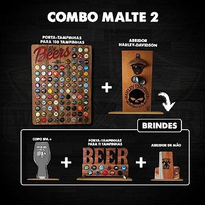 Combo Malte 2 - Porta tampinhas, abridor de cerveja e brindes
