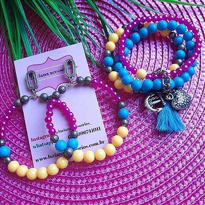 Conjunto brinco e kit de pulseiras verão