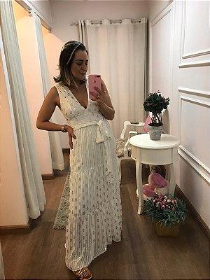 Vestido longo folhas off white
