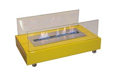 Lareira Ecológica a Álcool Portátil Aço Amarela Queimador 40cm