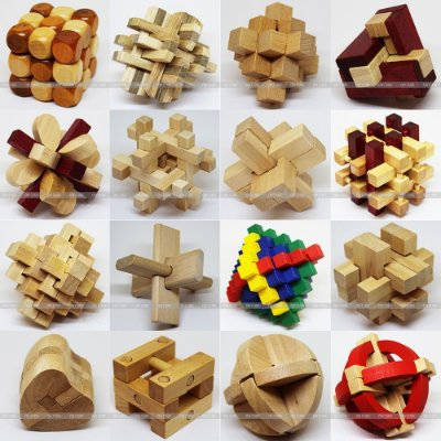 Puzzle Kit Box Madeira - Kong Ming Lock - 16 peças