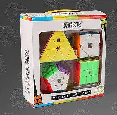 Box Cubo Mágico Moyu Megaminx + Pyraminx + Square-1 + Skewb Stickerless