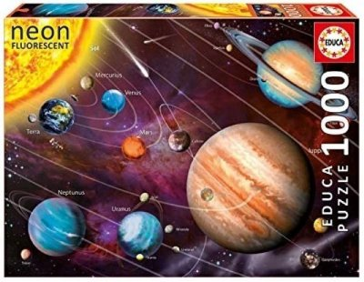 Quebra-Cabeça Solar Sistem Neon - Brilha no Escuro 1000 peças