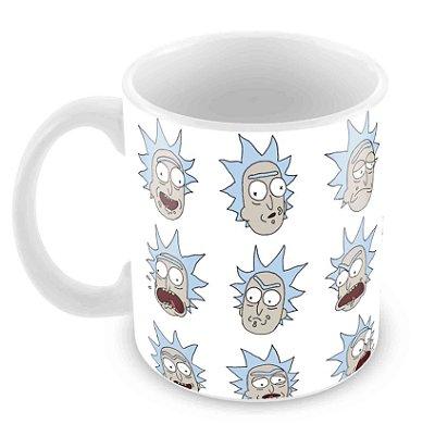 Caneca Branca - Rick e Morty - Faces