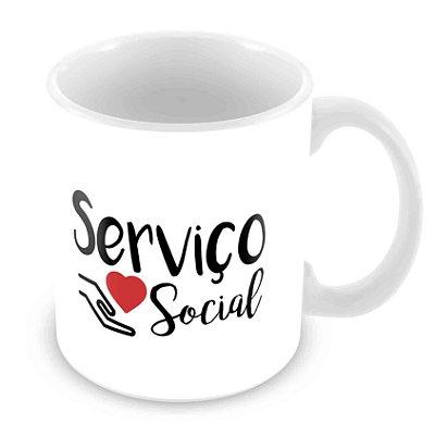 Caneca Branca - Profissões - Serviço Social