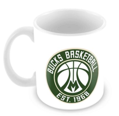Caneca Branca - NBA - Milwaukee Bucks