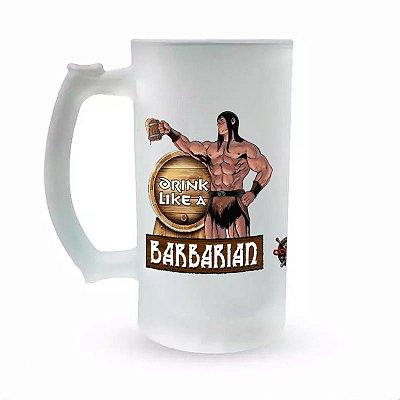 Caneca de Chopp Vidro Jateado - Especial Fórum Conan - Drink Like a Barbarian