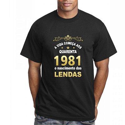 Camiseta Preta com Frase Nascimento das Lendas