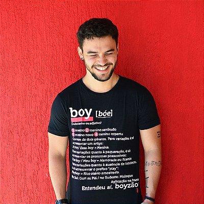 Camiseta Boy Dicionário Preta