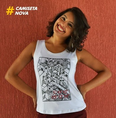 Camiseta Feminina Favela Branca