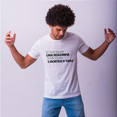 Camiseta Masculina Branca Risadinha