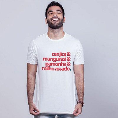 Camiseta Comidas Juninas Branca