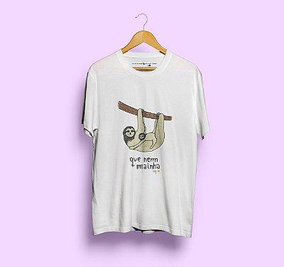 Camiseta Que Nem Mainha Branca Preguiça