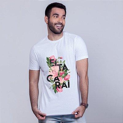Camiseta Eita Carai Floral Branca Amandrafts