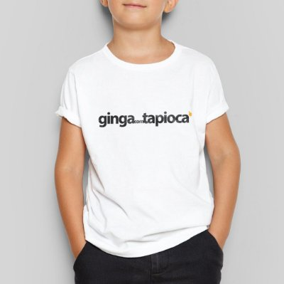 Camiseta Infatil Ginga com Tapioca Branca