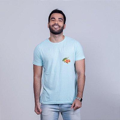 Camiseta Estonada Caju Minimal Chumbo Azul