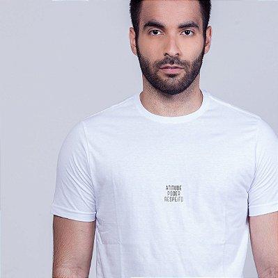 Camiseta Atitude Poder  e Respeito Branca