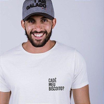 Camiseta A Fio  Cadê meu biscoito? Off White