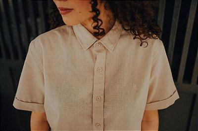 Camisa Linho de Botão Off White