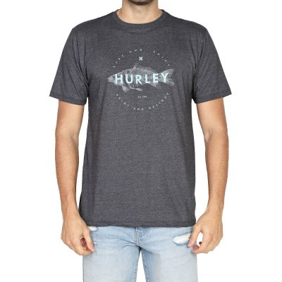 Camiseta Hurley Silk Fish Masculina Preto Mescla