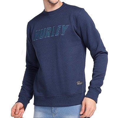 Moletom Hurley Careca Overlayer Masculino Azul Marinho