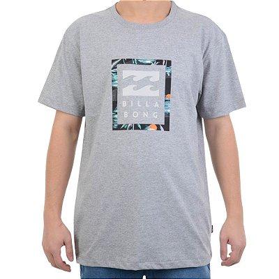 Camiseta Billabong United Stacked IV Masculina Cinza Claro