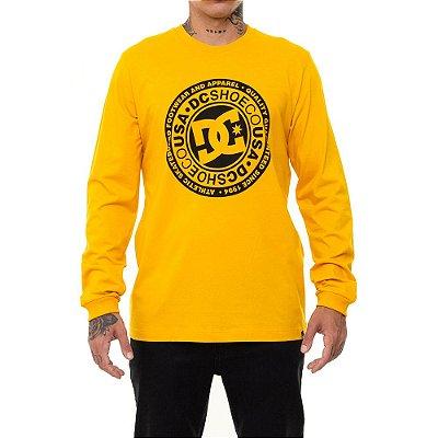 Camiseta DC Shoes Manga Longa Circle Star Masculina Amarelo