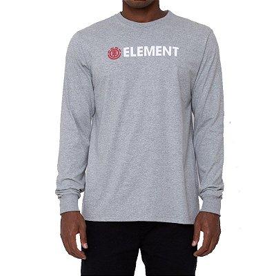 Camiseta Element Manga Longa Blazin Masculina Cinza Mescla