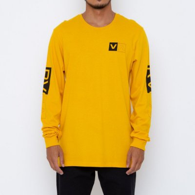 Camiseta RVCA Manga Longa Divides Masculina Amarelo