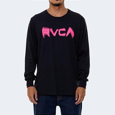 Camiseta RVCA Manga Longa Blurs Masculina Preto