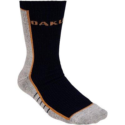 Meia Oakley Color Crew Sock Cano Alto Preto/Laranja