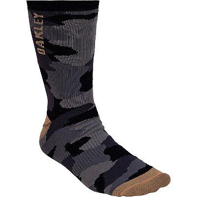 Meia Oakley Camo Crew Sock Cano Alto Preto Camuflado