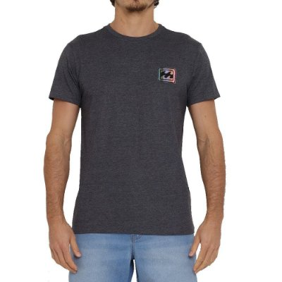Camiseta Billabong Crayon Wave Masculina Cinza Escuro