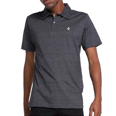Camisa Polo Volcom Corporate Masculina Mescla Preto