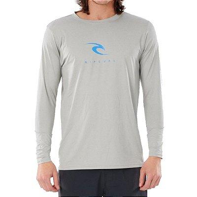 Camiseta Surf Rip Curl Manga Longa Icons Cinza Claro