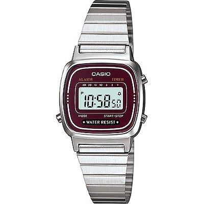 Relógio Casio Vintage LA670WA-4DF Prata/Vinho