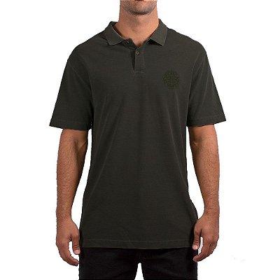 Camisa Polo Rip Curl Round Logo Masculina Preto