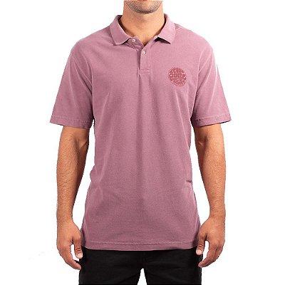 Camisa Polo Rip Curl Round Logo Masculina Vinho