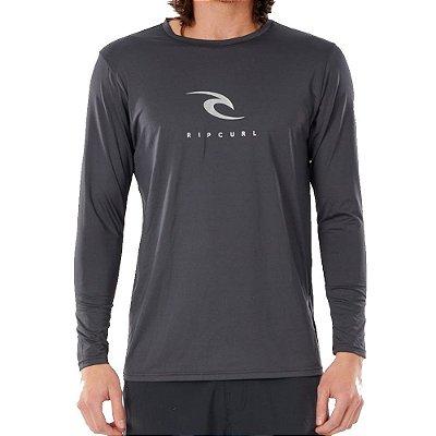 Camiseta Surf Rip Curl Manga Longa Icons Cinza Escuro